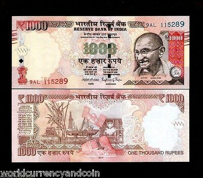 India 1000 1,000 Rupees New Symbol 2016 Gandhi Oil Rig Unc Currency Money 1 Note