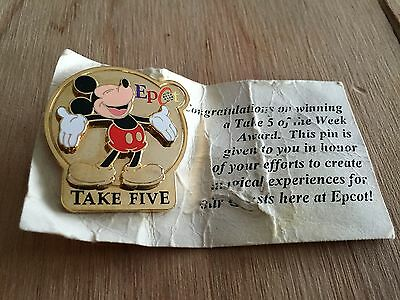 Gold Plated Cast Member Exclusive Epcot Take Five CM Disney Pin