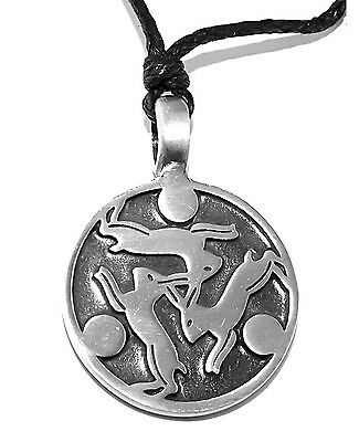 Trinity of Three Hares Pagan Wiccan Moon Pendant Necklace