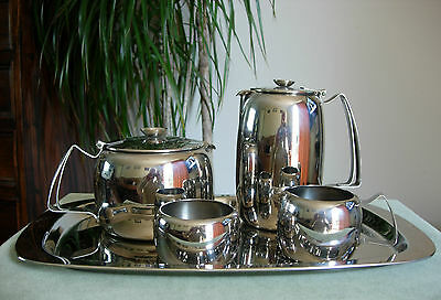 DECO Old Hall Stainless Steel 5 Piece Tea Set with Tray Connaught Design