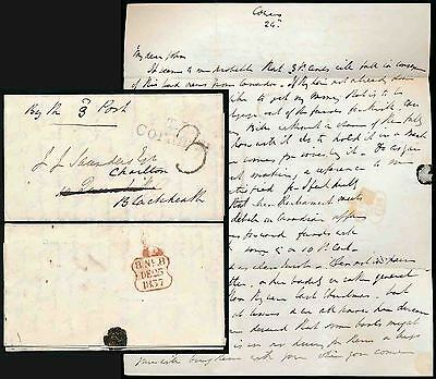 GB QV 1837 CHRISTMAS DAY POSTMARK +TP CORAM STREET 3d POST LONDON LOCAL SAUNDERS