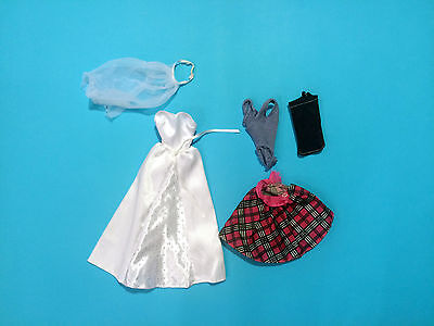 BARBIE Clothing 5 pieces Lot ( Wedding White Dress Checked Skirt )