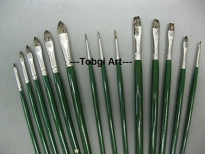 Russian Black Sable Quality Artist Oil Brushes Bright-Fibert-Round you choose #