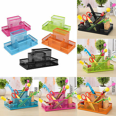 Metal Home Office Organizer Box Pen Pencils Holder Desk Stationery Storage AU