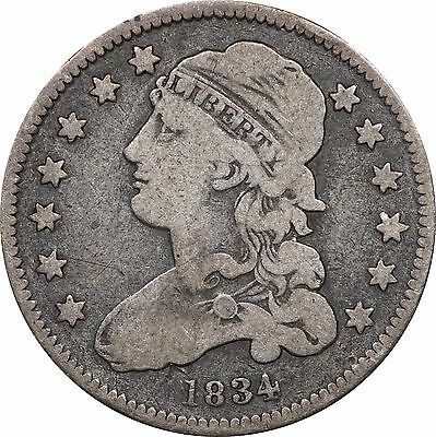1834 Bust Quarter, Fine Details, 2 Small Scratches on Reverse