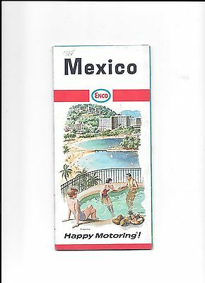 1968 Enco Gas Station Road Map Mexico Happy Motoring Humble Oil Company