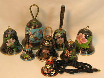 Eight Small Cloisonne Bells Black Base Color WINTER SPECIAL