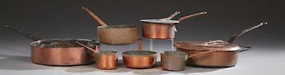 Group of Seven French Graduated Copper Sauce Pans, 19th century ( 1800s )