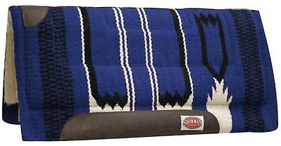 "Showman BLUE 32"" x 34"" Wool Top Cutter Style Saddle Pad W/ Navajo Design!"