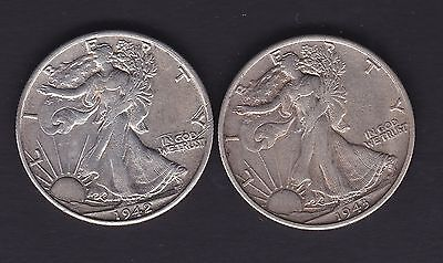 USA, 1943s and 1942 silver half dollar coins