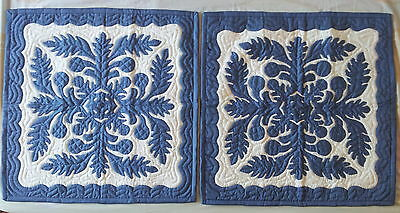 2 Breadfruit Hawaiian style quilt sky blue hand made quilted wall hanging 24""