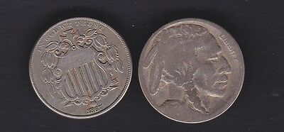USA 1867 w/out rays  and 1920s Nickle coins