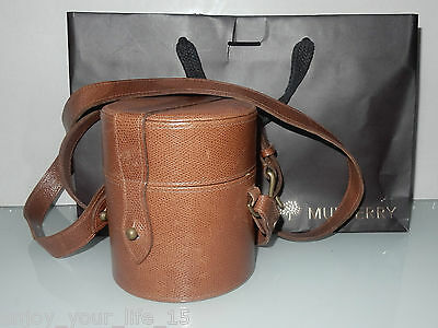 Vintage Mulberry Round Tan Leather Case With Strap & Bag