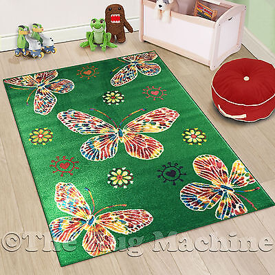 RHIANNA KIDS BUTTERFLY GREEN WATERCOLOUR STYLE FLOOR RUG 120x170cm **NEW**