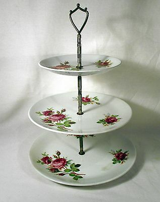 Vintage British Anchor Hostess 3 Tier Roses Cake Stand G-63