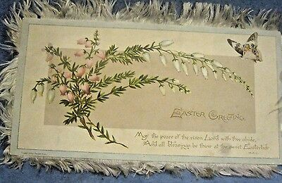 Antique Victorian Fringed Silk Edge Easter Greeting Card Floral Lithograph