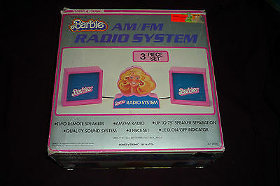 VERY RARE Vintage 1984 Barbie Powertronic AM/FM Radio System Mint in Box WORKS!