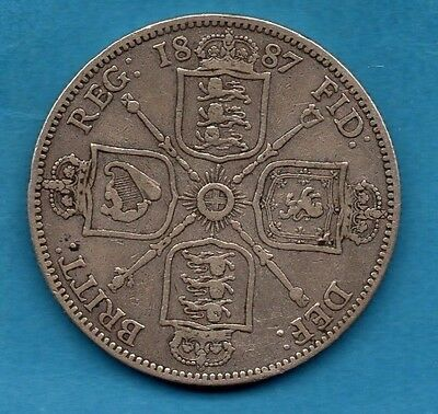 1887 Florin Coin. Queen Victoria Jubilee Head Sterling Silver Two Shillings.