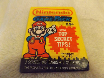 Nintendo Game Pack Trading Card Wax Pack 1989 Topps L@@K Mario Super Mario Bros.