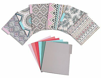 File folder - 12 Pack set by Juvale Chic Colorful Unique Letter Size Memory Tab