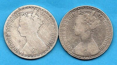 1872 & 1883 Silver Gothic Florin Coins. Queen Victoria Gothic Head Two Shillings