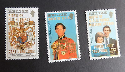 Belize 1982 Royal Baby William SG717/9 OP overprint MNH UM unmounted mint