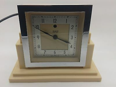 SUPERB TEMCO 1930's ART DECO ELECTRIC MANTLE CLOCK FULLY RESTORED