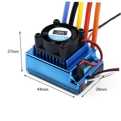 120A ESC Sensored Brushless Speed Controller For 1/8 1/10 Car/Truck Crawler CU