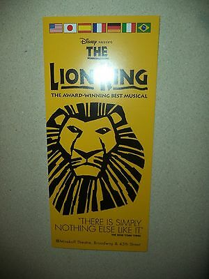 The LION KING Broadway Musical Brochure!  Minskoff Theatre New York, NY!  Used