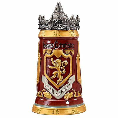 Game of Thrones House Lannister Stein - 22 Oz Ceramic Base with Pewter Baratheon