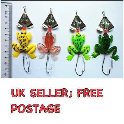 Frog Jelly Fishing Lure  (Set Of 4)  Spinner Trout Pike  Perch Bass Bait  Tackle