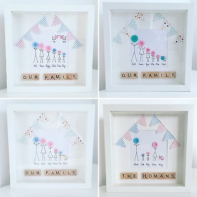 Handmade Personalised Button Family New Home Scrabble 3D Box Frame Gift