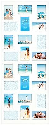 White Multi Aperture Photo Picture Frame Holds 24  6''X4'' Photos