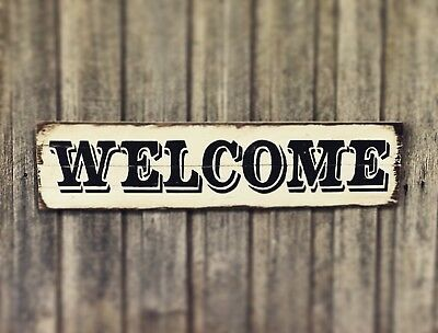 WELCOME H80CM X W20CM - MULTIPLE COLOURS Rustic Vintage Style Timber Sign