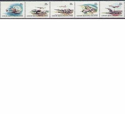 Cocos Islands 1981 AIRCRAFT Strip 5, Unhinged Mint SG 65-69