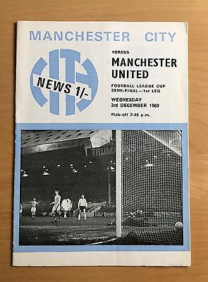 MANCHESTER CITY v MANCHESTER UNITED : League Cup Semi Final 1st Leg 3/12/1969