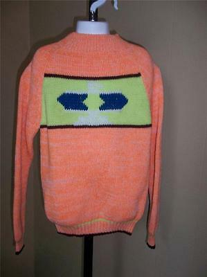 GIRL'S VTG 1970s ORANGE SPACE DYED SWEATER PRINT COLOR BLOCK CHEST SZ 12 NOS