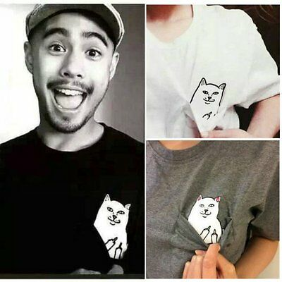 Personality Men Women Funny Pocket Cat Cute Kawaii Couples T Shirt Tops Blouse U