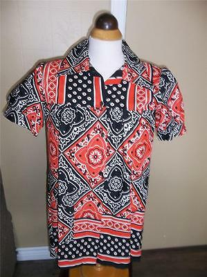 VTG 1960s COTTON BLOUSE ATOMIC PRINT LOOSE FLOWING SMOCKED SHIRT SIZE SMALL NOS