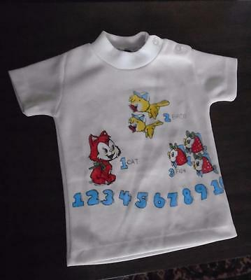 BABY VTG 1970s WHITE POLYESTER T SHIRT COUNTING NUMBERS 1 to 10 SZ 18 MONTHS NOS