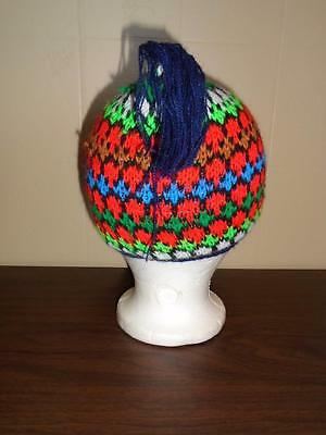 GIRL'S VTG 1970s DOUBLE KNIT WOOL HAT CHIN STRAP MULTI COLORED WINTER CAP NOS