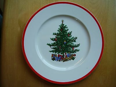 """Taylor Smith & Taylor Holly & Spruce 10 1/2"""" Dinner Plate Red Trim FREE SHIPPING"""