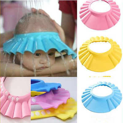 Soft Adjustable Baby Kids Children Bath Shower Shampoo Shield Cap Hat Wash Hair~