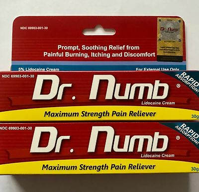 2X DR NUMB 5% Lidocaine Cream 30 gr Skin Numbing Tattoo/Removal Wax Exp   06/2022