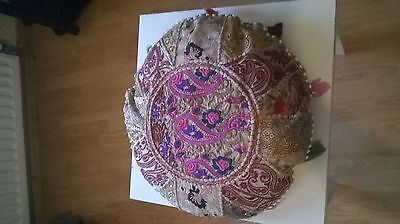Handmade Indian Ottoman Large Floor Pillows Tapestry Round Cushions Cover 50cms.