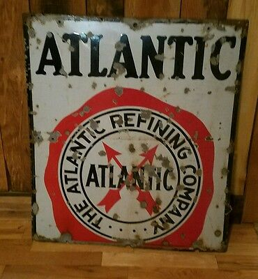 Vintage Porcelain Atlantic Gasoline Sign