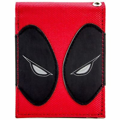 New Official Cool Deadpool Face Red & Black Eyes Bi-Fold Wallet