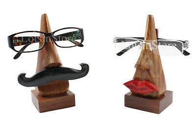 Wooden his & hers glasses stand nose sunglasses case holder display stand