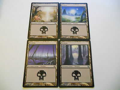 4x MTG RUSSIAN Swamp-Palude Magic EDH 9th Nona ed Base BB Set x4 Art Different