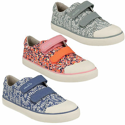 Brill Ice Girls Kids Clarks  Riptape Casual Shoes Canvas Pumps Trainers